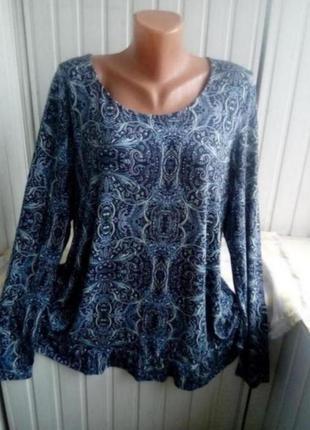 Трикотажная вискозная блуза большого размера батал