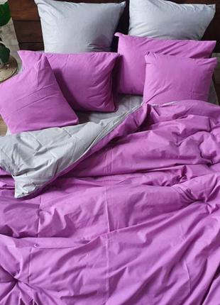 Комплекты из бязи, однотонные комбинированные - пурпурный +серый, все размеры, быстрая отправка