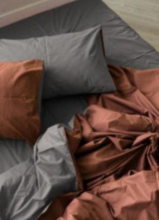 Комплекты из бязи, однотонные комбинированные - коричневый +серый, все размеры, быстрая отправка