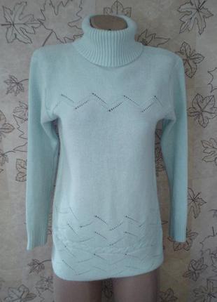 Теплый мягкий вязаный узорный свитер кофта под горло мятный