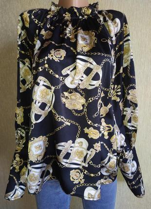 Shein прекрасная винтажная блуза с красивым принтом, р.40, 42