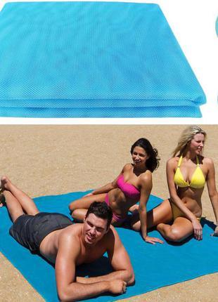Покрывало пляжное анти песок sand leakage beach mat 2х1,5 м голубое