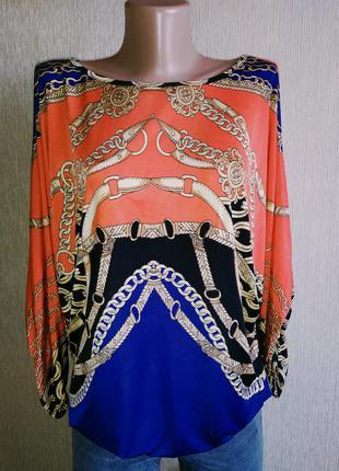 Fres jolie винтажная блуза с принтом цепи, р.36,38
