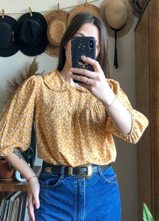 Охрова блузка з комірцем/ блузка с воротничком