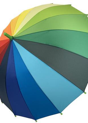 """Детский полуавтоматический зонт-трость """"радуга"""" от flagman, подойдет для школьников, зеленая ручка,"""