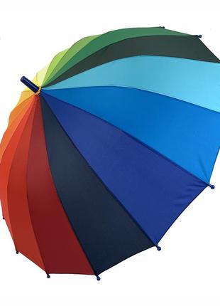 """Детский полуавтоматический зонт-трость """"радуга"""" от flagman, подойдет для школьников, синяя ручка, 50"""