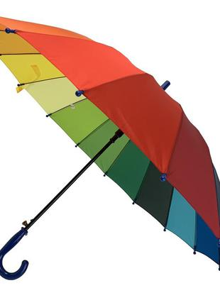 """Детский полуавтоматический зонт-трость """"радуга"""" от flagman, подойдет для школьников, темно-синяя руч"""