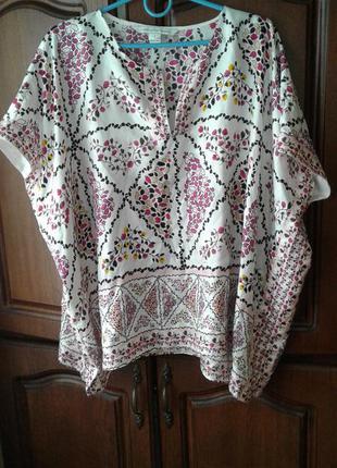 Брендовая свободная блуза 100 % шелк