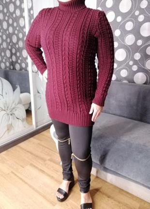 Женский свитер супер батал 54-60 марсала