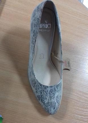 Туфли на каблуке caprice серого цвета.