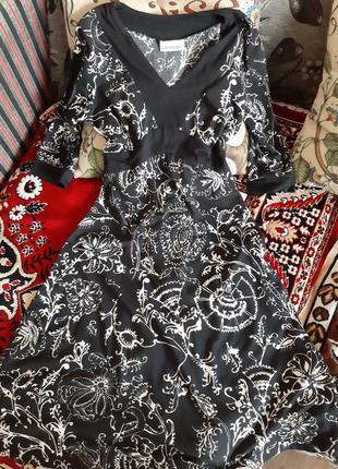 Плаття принт сукня тепла на довгий рукав пів четрерті класичне класика базове чорне пишне кльош котонове