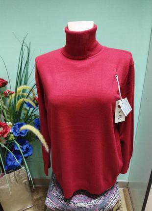Гольфик женский теплый красный вишневый размер 54-56-58