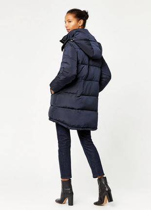 Новый пуховик warehouse капюшоном синий зефирка оверсайз зимний синтепоне пальто куртка