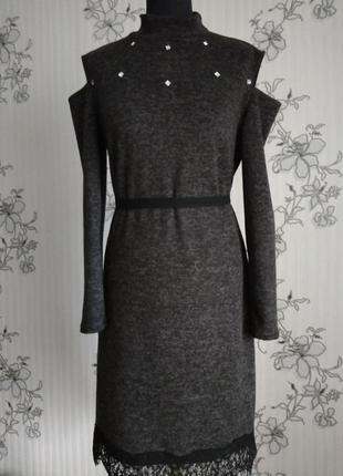 Эксклюзивное новое трикотажное чёрное меланжевое платье с ангоры, размер м-л.