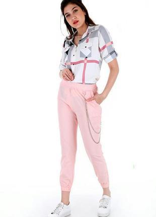 Джогеры, спортивные штаны, классика брюки классические однотонный цвет светло розовые пудра
