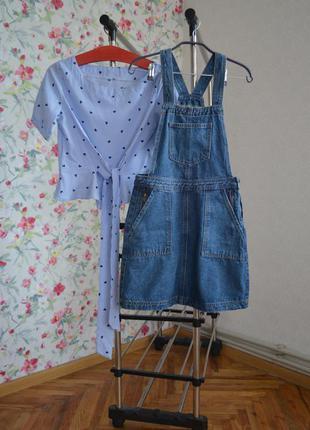 Джинсовий сарафан + блуза