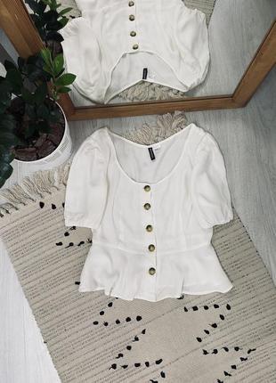Біла блуза з натуральної тканини від h&m🌿