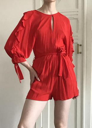 Комбинезон вечерний красный костюм комбидресс