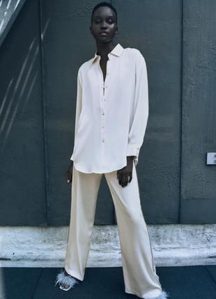 Блуза zara из сатина, текущая коллекция 2021