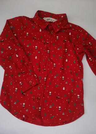 Рубашка, рубашка красная, рубашка новогодняя