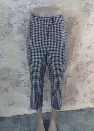 Стильные брюки бриджи итальянские италия брючки в клетку укороченные plums