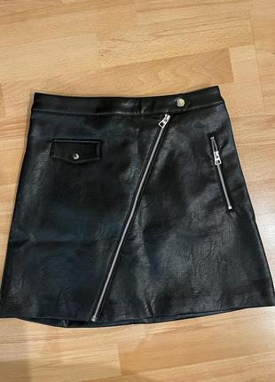 Новая кожаная юбка h&m