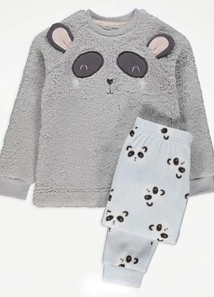 Теплая плюшевая пижама george панда в подарочной упаковке