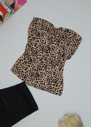 Леопардовый топ /бюстье 8 размера h&m