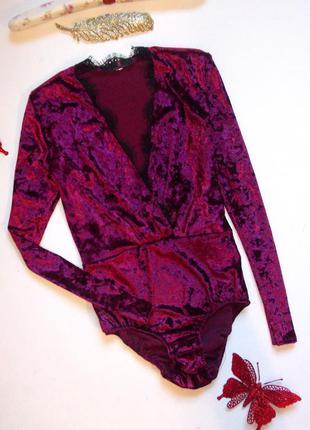 Шикарный бархатный боди с кружевом бордовый розовый велюровый3 фото