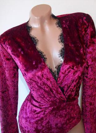Шикарный бархатный боди с кружевом бордовый розовый велюровый5 фото