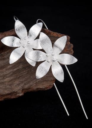 Серьги цветы серебро 925 / большая распродажа!