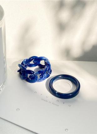 Набор из двух колечек синие крупная цепь смола акрил тренд / большая распродажа!