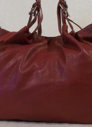 Большая объёмная сумка *borse in pelle* натуральная кожа.
