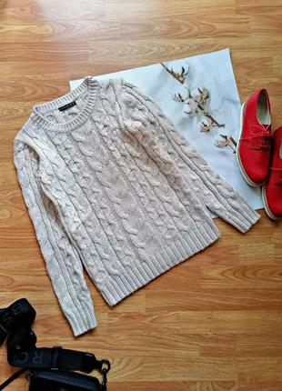 Женский теплый вязаный бежевый брендовый свитер с шерстью atmosphere -размер 40-44