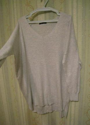 Стильный женский свитер оверсайз мятного цвета, шерсть, р.50-52/ m