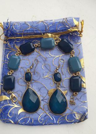 Набор бижутерии синего цвета