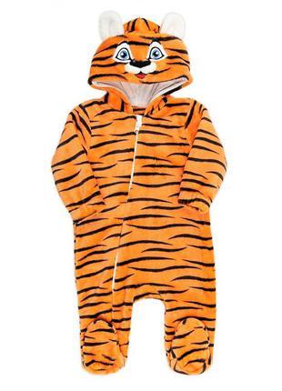Теплый комбинезон тигр, символ 2022 года, новогодний оранжевый