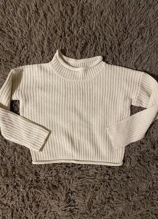 Объёмный молочный свитер с горлом, вязаный свитер, крупная вязка