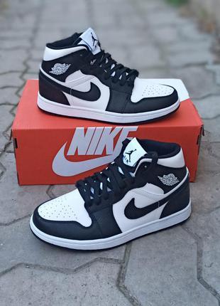 Женские кроссовки nike air jordan кожаные, черные, хайтопы