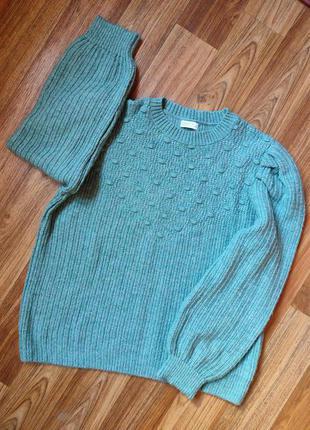 Вязаный свитер с объемными рукавами, размер хл