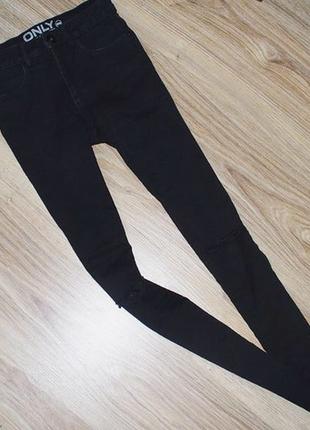 Черные джинсы скинни скини skinny дырками коленях высокой посадке талией штаны потертости