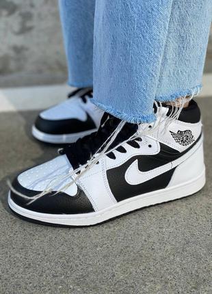 ❄️ зимние женские кроссовки на меху nike air jordan 1 high white black