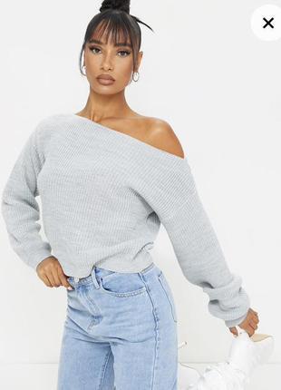 Срочная распродажа! серый свитерок на осень на одно плече