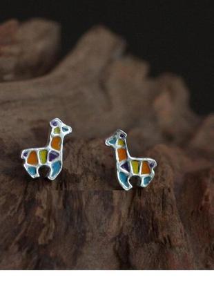 Серьги жирафики минилизм серебро 925 / большая распродажа!