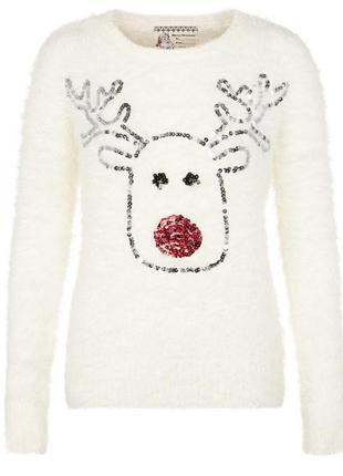 Новогодний свитер белый травка с оленем пайетки / большая распродажа!