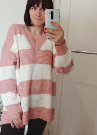 Теплый вязаный свитер туника с v вырезом