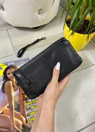Последний кожаный кошелек-косметичка чёрного цвета