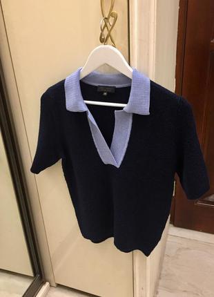 Трикотажний топ светер преміум бренду adolfo dominguez merino wool knit polo sweater оригінал