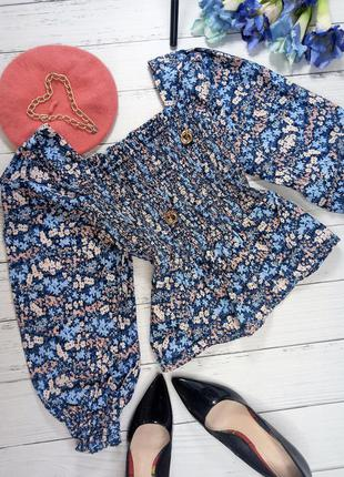 Трендова блуза щ об'ємними рукавами і квадратним вирізом (100% коттон)