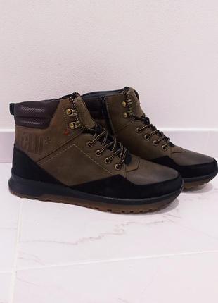 Зимние мужские ботинки kacloh brown black (мех) 41-42-43-44